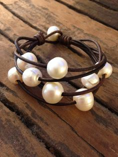 Leather and Pearls Bracelet! Beautiful, BIG, baroque freshwater pearls hand drilled and strung on conditioned leather cord. The larger the pearl, the rarer they are. These are 13-15mm! Great piece to