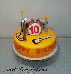 Drum cake - Drum cake for 10. birthday. Birthdaykid is the drummer of his band ;)) All fondant and gumpaste