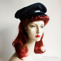 Vintage 1970s Black Bus Train Driver Chauffeur Uniform Hat Peaked Cap by UpStagedVintage on Etsy