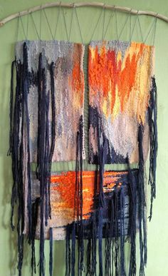 Black-gray-orange abstract tapestry triptych fashionable room decoration and original gift to friend