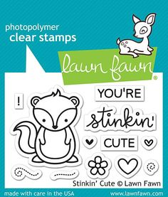 "LAWN FAWN: Stinkin' Cute(2"" x 3"" Unmounted Clear Acrylic Stamp Set) Have a stinkin' good time with this little skunk! The heart or flower fits perfectly into the skunk's hands. This Package includes S"