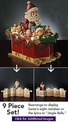 Musical Santas Sleigh (9 Piece Set) [ TheGoodLifeStore.com ] #Christmas #TheGoodLife #collectables