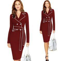 Plus Size Collar Suit Pencil Dress