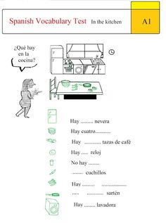 Spanish Test: Spanish Vocabulary Test: In the Kitchen A1