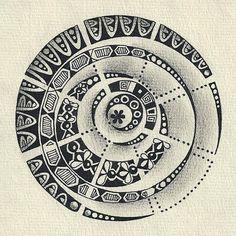 Enthusiastic Artist: Circular tangles as mandala centers (#3)