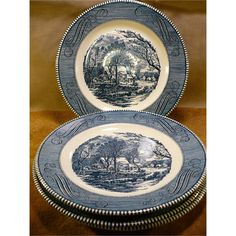 Currier and Ives Dinner Plates by Royal China Co Set of 4 - GR 1
