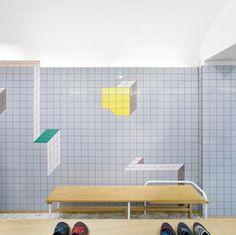 """Dimensional"" tile seen in a Camper store."