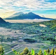 "Mount Batur's Volcanic Landscape, viewed from Pinggan village, Kintamani: 8°12'09.2""S 115°23'14.9""E"