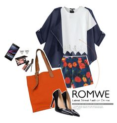 """""""Romwe White T-shirt"""" by sibanesly ❤ liked on Polyvore featuring Hermès, Laura Mercier, Sony and romwe"""