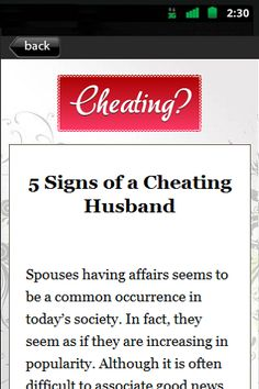 """Find Out The Truth About Your Scheming Lover!  Get The Proof You Need To Ease Your Mind And Your Heart!<p>Introducing...<p>""""Catching Your Cheating Spouse""""<p>Do you suspect that your lover is secretly cheating on you and you're just not sure?<p>Would you l"""