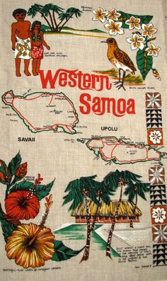 WESTERN SAMOA Vintage Tea Towel map of Savaii by HeritageAndHeart, $20.00