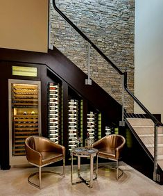 20 Eye-Catching Under Stairs Wine Storage Ideas Custom-built cooler with LED lighting for the wine cellar under stairs [Design: Bill Cook Luxury Homes] Stair Storage, Wine Storage, Storage Ideas, Storage Racks, Closet Storage, Under Stairs Wine Cellar, Wine Cellar Racks, Escalier Design, Home Wine Cellars