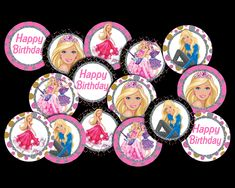 Barbie Cupcake Toppers Party Printable Barbie Cupcakes, Barbie Party, Party Printables, Cupcake Toppers, Etsy Store, Vibrant Colors, Card Stock, My Design, Banner