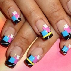 Kind of neat... 80's nails-Saved By The Bell Nails