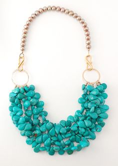 Turquoise Necklace/ love these little teardrop beads, but, for the large ring, I would use something a lot heavier than this little thin thing.