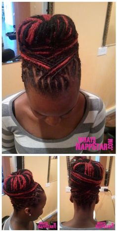 Red #locs updo. I can't add the link. Read the watermark on the pic.