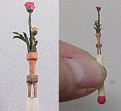 Matchstick Carvings * Flowers in Pot on 4-Legged Table *  by : Linda Master