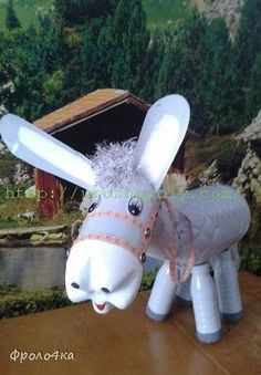 Art & Recycling: Donkey made of plastic bottles. (Pet) Art & Recycling: Donkey made of plastic bottl Recycled Art Projects, Recycled Crafts, Diy And Crafts, Crafts For Kids, Plastic Bottle Crafts, Recycle Plastic Bottles, Clay Pot Crafts, Recycled Bottles, Bottles And Jars