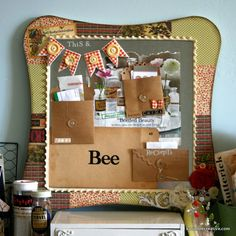 This and That Magnet Board. Maya Road and Jenni Bowlin goodness by Katie Watson Bee Creative, Creative Ideas, Pocket Envelopes, Diy And Crafts, Paper Crafts, Love Craft, Photo Displays, Scrapbooking Layouts, Shadow Box