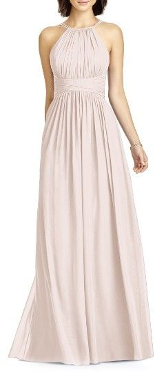 Women's Dessy Collection Lux Chiffon Halter Gown