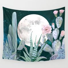 Cactus Nights Pretty Pink and Blue Desert Stars Cacti Illustration Wall Tapestry by DesertDecor Buy Cactus, Cactus Flower, Cactus Art, Flower Pots, Kaktus Illustration, Framed Art Prints, Canvas Prints, Canvas Artwork, Collage Artwork