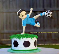 Soccer player cake.