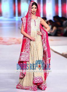 Gold Ice Floor Length U Neck Anarkali Suit from Pakistani Wedding Dresses at PBCW 2014 Karachi