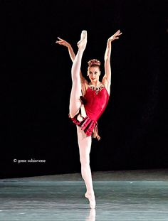 """Ekaterina Kondaurova (Mariinsky) in Rubies from Balanchine's Jewels.Photo by Gene Schiavone. """"What sexy, electrifying dancing…from Ekaterina Kondaurova as the lofty ice-maiden who appears to vie for his affection. She repeatedly bent her perfect line (that back! that neck!) into the most fantastically provocative shapes, and moved with the speed of a performer half her height."""""""