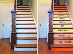 Diy Stairs Ideas With Diy Painted Staircase Becd Diy Painted Stairs Thumb Painted Staircases, Painted Stairs, Staircase Painting, Stairway Paint Ideas, Architecture Design, Stair Decor, Under Stairs, Decorating Blogs, Diy Craft Projects