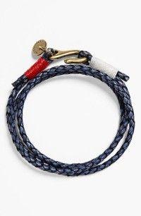 Caputo & Co Washed Braided Leather Bracelet