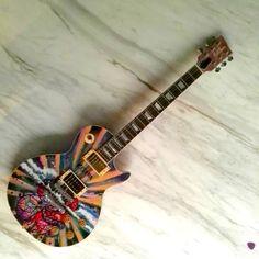 mixed media over guitar contemporary painting custom art ballara katana - IG @gabewong1