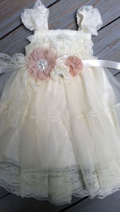 Ivory Lace Flower Girl Dress -Ivory Lace Baby Doll Dress/Rustic Flower Girl/-Vintage Wedding-Shabby Chic Flower Girl Dress-Vintage Sash