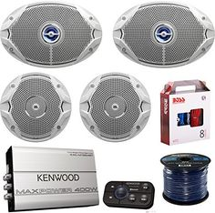 Marine Speaker And Amp Combo 2x JBL MS9520 6x9 2Way Coaxial Marine Speakers  2x JBL MS6510 65 Boat Speakers  Kenwood Bluetooth 4Chan Amplifier W Install Kit  Enrock 50Ft 16g Speaker Wire *** You can find out more details at the link of the image.