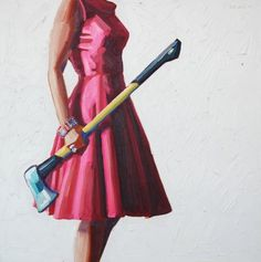 """Roles re-imagined. Artist: Kelly Reemsten. I chose this image to inform the collaborative process for the """"Viral"""" issue because of the strong juxtaposition of classic 50's housewife carrying around traditionally male objects.  The way in witch the object is held is passive and relaxed empowering the subject as rightful owner of said object."""