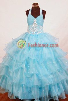 Perfect Ball Gown Halter Top Floor-length Aqua Blue Organza Appliques Flower ... fashionor.com