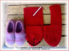 Hahtuvatossuohje - Virkun blogi - Vuodatus.net Loom, Slippers, Knit Crochet, Knitting Patterns, Diy And Crafts, Projects To Try, Felt, Socks, Handmade