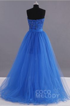 Trendy A-Line Sweatheart Natural Sweep-Brush Train Tulle Royal Blue Sleeveless Zipper With Button Prom Dress Beading Appliques LOZH14001 #cocomelody #dresses #prom