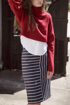 Pencil skirt + button down + knit crop sweater