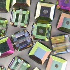 Swarovski 5601 4mm Crystal Vitrail Medium B Cube Bead 12 Pack