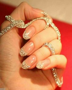 Nude Almond Shape Nails with Fine Gold Glitter French Tips