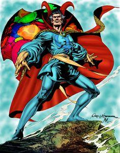 A bit of old school Doctor strange goodness by Rudy Nebres. Comics Love, Marvel Comics Art, Marvel Heroes, Marvel Avengers, Comic Book Characters, Marvel Characters, Doctor Stranger, Man Thing Marvel, Dr Strange