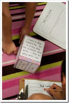 Print 6 different MESSED UP sentences and glue them onto a tissue box.  The kids roll the box, read the sentence,  write it, and then revise it.  Great for a writing center!