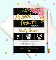 Black White stripes Bridal Shower Invitation by AlniPrints on Etsy  #Bachelorette #Bridal #Shower #Invitation #brunch #idea #invite #Lingerie #party #dinner