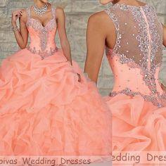 Vestidos De Quinceaneras 2015 Coral Sweet Sixteen Dresses Elegant Modern Quinceanera Dresses Ball Gowns Vestido De 15 Anos Longo-in Quinceanera Dresses from Weddings & Events on http://Aliexpress.com   Alibaba Group