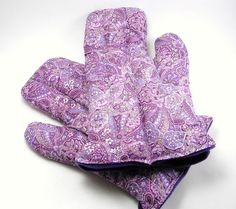 Microwave Hand Mitts, Hot Hands, heating pad therapy packs with rice and flax - purple paisley