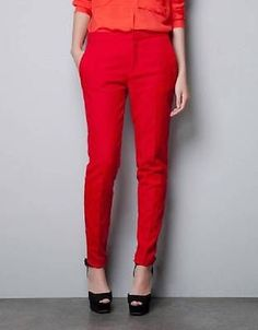 ZARA red jacquard skinny trousers pants size Small NWT