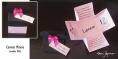 Convite Aniversário | Tema Minnie  (Caixa com Orelhas da Minnie)