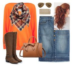 Orange Plaid by themodestme on Polyvore featuring polyvore, fashion, style, Lauren Ralph Lauren, Current/Elliott, JustFab, BP., Michael Kors, Ray-Ban and clothing