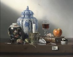 Pierre Raser, Vase de chine, pomme & coquillages