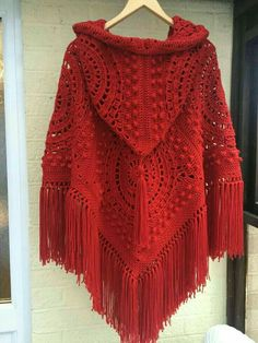 Handmade crochet hooded poncho with fringe and tassel in fabulous red. Seventies retro/vintage style poncho brought up to date with a hoodThis Handmade crochet hooded poncho with fringe and tassel in is just one of the custom, handmade pieces you'll Poncho Au Crochet, Crochet Poncho Patterns, Crochet Jacket, Crochet Scarves, Crochet Clothes, Crochet Stitches, Free Crochet, Knit Crochet, Crochet Hood